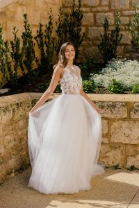 Perth wedding dress gownbridal body suit tulle skirt swarovsky waist