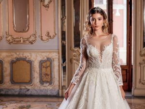 princess wedding dress lace gown beaded Perth bridal elegant collection feminine elegant stunning italian modern bride A-line beaded illusion lace sleeves