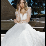 illusion sleeves stunning feminine wedding dress lace gown beaded Perth bridal elegant collection feminine elegant stunning italian modern bride A-line
