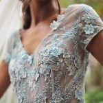colour wedding dress lace gown formal sheer bodice Perth bridal
