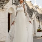perth wedding dress lace gown beaded Perth bridal elegant collection feminine elegant stunning italian modern bride A-line boho high neck sleevesunique