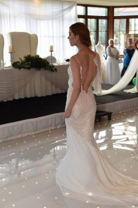 colour wedding dress lace gown beaded Perth bridal cape low back