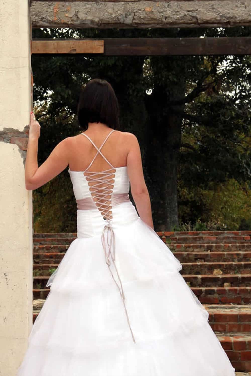 colour wedding dress tulle gown beaded Perth bridal